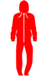 red colour all in one onesie